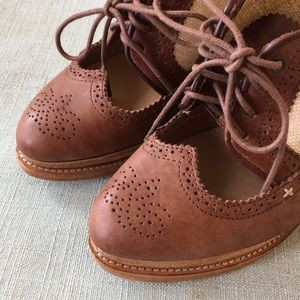 Rag and Bone Leather and Canvas Wedge Oxfords.